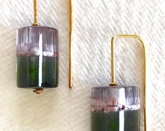 Summer Sale Watermelon tourmaline crystal and solid 18k gold earrings OOAK