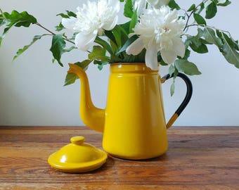 Vintage yellow enamel kettle, yellow kettle, vintage enamel pot, canary yellow kettle