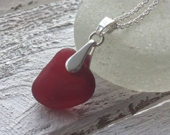 Red Sea Glass Sterling Silver Necklace