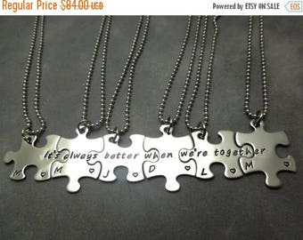 Its always better when were together, personalized puzzle pieces necklace set of 6, hand stamped stainless steel, best friends, sisters