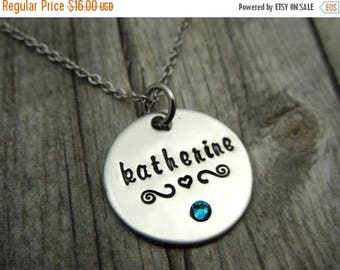Personalized Name necklace with birthstone crystal, mothers necklace