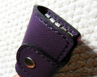 100% hand stitched handmade violet cowhide leather key purse / holder / case