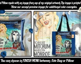 Saluki Pillow or Tote Bag/Saluki Art/Saluki Portrait/Dog Tote Bag/Dog Pillow/Dog Art/Custom Dog Portrait/River of No Return Movie Poster