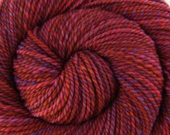 Handspun Yarn Bulky weight - OLD BARN DOOR - Handpainted Organic Polwarth wool, 190 yards, gift for knitter, weft yarn, red handspun yarn