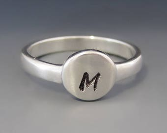 ONE Personalized & Custom Sterling Silver ROUND Initial Ring / Mother's Letter Ring / Stacking Ring / Mother's Day Gift / Gifts for Her