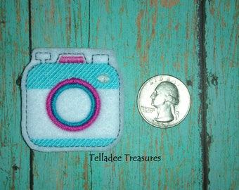 Camera feltie on white felt - Great for Hair Bows, Reels, Clips and Crafts