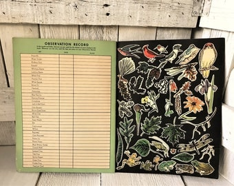 Vintage My Nature Book childrens outdoor observation color illustration 1938- free shipping US