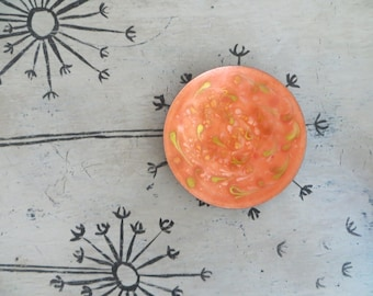 Enamel over Copper Art Dish Trinket Dish Ring Catch Orange