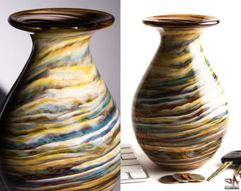 Hand Blown Glass Vase - Bulbous Shape with Beige and Brown Stripes