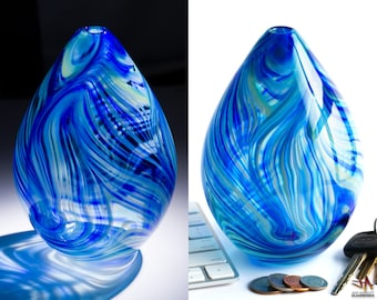 Small Hand Blown Glass Bud Vase - Egg Shape with Blue and Green Swirls