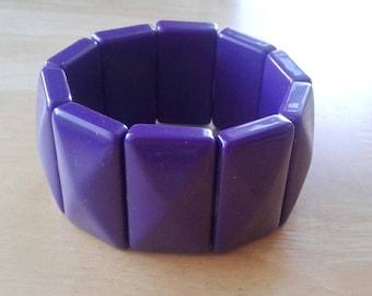 Purple Lucite Stretch Bracelet Wide Faceted Vintage