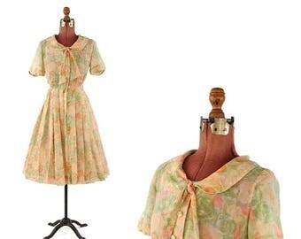 ON SALE Vintage 1960's Sheer Cotton Gauze Pastel Watercolor Floral Print Ascot Tie Garden Party Dress S