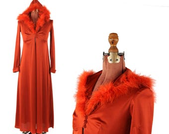 Vintage 1970's Dark Rust Red Nylon Empire Waist Feather Trimmed Hooded Duster Dress S