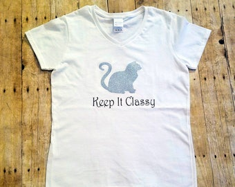 Cat shirt, Keep it Classy shirt, kitty shirt, glitter shirt, bridesmaids gifts, funny shirt