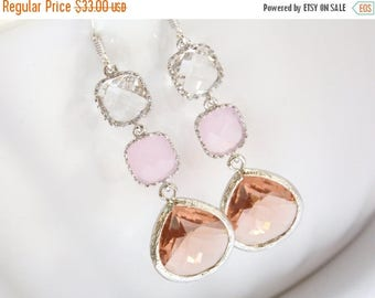 SALE Peach Earrings, Pink Earrings, Clear, Crystal, Champagne, Silver, Bridesmaid Jewelry, Bridesmaid Earrings, Bridal Jewelry, Bridesmaid G