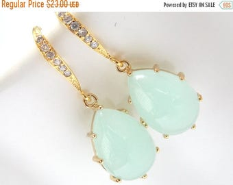SALE Mint Earrings, Aqua Earrings, Light Green, Gold, Wedding Jewelry, Cubic Zirconia, Bridesmaid Earrings, Bridal Earrings, Bridesmaid Gift