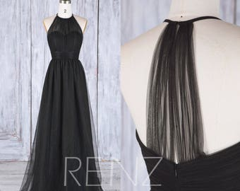 Bridesmaid Dress Black Sweetheart Illusion Tulle Wedding Dress,Sleeveless Maxi Dress,Long Halter Evening Gown A Line Long Party Dress(HS488)