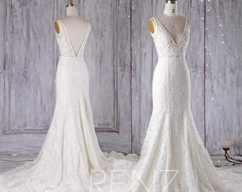 Off White Lace Wedding Dress V Neck Bridesmaid With Piping Back Ball