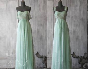 Dusty Mint Bridesmaid Dress, Long Chiffon Dress, Off Shoulder Wedding Dress Empire Waist, Formal Dress Floor Length (F041)-Renzrags