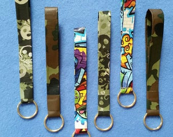 Handmade Duct Tape Keychain, graffiti, camouflage, or camo skulls - upcycled duct tape key fob keyring keychain