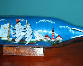"Three Masted SHIP in a BOTTLE 12"" long-Lighthouse on Shore!  New old stock in box."