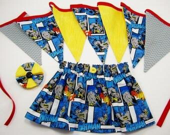 Batman Birthday Party - Batman Skirt - Batman Fabric Banner - Batman Fabric Garland - Hair Clip - Party Game - Party Favors - Superhero