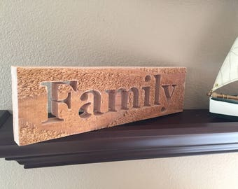 Wood Signs Family - Wood Signs Farmhouse - Country Decorations - Words on Wood - Church Decor - Sign Sayings - Wood Artwork - Under 50