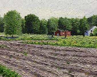 "Original Impressionist Oil Impasto painting 11x14 ""Plowed Field"""