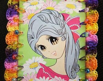 Vintage Crochet Playing Card Gift Tag / Ornament Anime Big Eye Girl