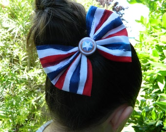 Captain America inspired fabric bow