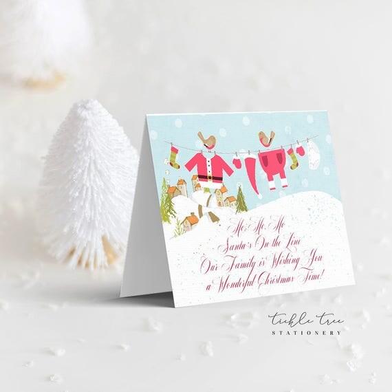 Christmas Greeting Cards - Santa's on the Line