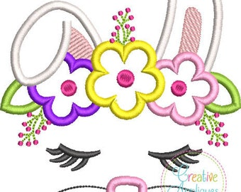 Rabbit Face with a Crown of Flowers - Appliqued and Personalized