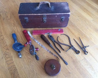 Vintage Wooden Tool Box and Tools!