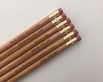 office woes personalized pencil set in natural wood. multiple quotes. MATURE swears. not for children or the easily offended.