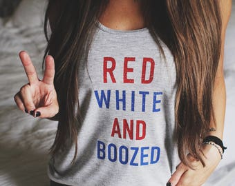 Red White and Boozed Shirt, 4th of July shirt, Off Shoulder Shirt, Slouchy Tank, T-Shirt, Independence Day Shirt, Customized Tee