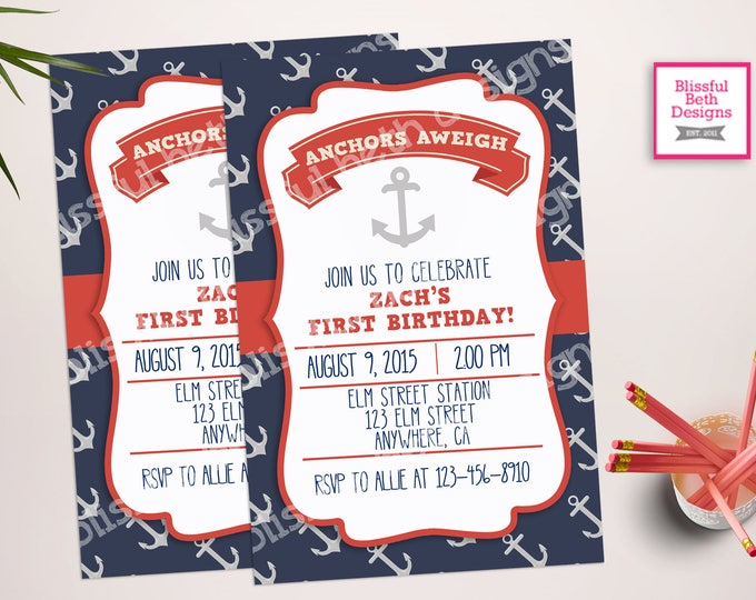 NAUTICAL FIRST BIRTHDAY,  Anchor Birthday, Nautical Birthday, Anchors Aweigh, First Birthday, Anchor First Birthday, Nautical Anchor