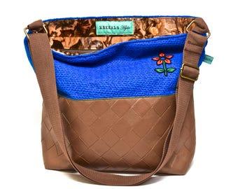 Shoulder Bag - Vintage Royal Blue Crochet with Velvet Floral and Vegan Leather