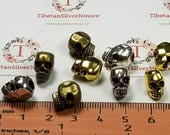 8 pcs per pack 12x8mm top to the bottom drilled Large Hole Beads Skull in color to choose Lead free Pewter.