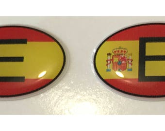 "Spain E Domed Gel (2x) Stickers 0.8"" x 1.2"" for Laptop Tablet Book Fridge Guitar Motorcycle Helmet ToolBox Door PC Smartphone"