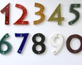 Mid Century Modern Address Numbers - Stoneware House Numbers - Custom Color - Black White Blue Red Green Mustard -  1 NUMBER - MADE to ORDER