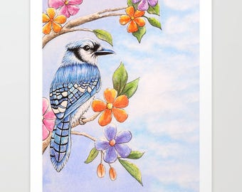 Print Blue Jay & Flowers Watercolor // art, nature, painting,bohemian,boho,birds,bird art,botanicals,animals,animal art,blue,bright,colorful