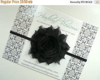 SALE Black Frayed Chiffon Flower Skinny Headband - Photo Prop - Newborn Infant Toddler - Baby Shower