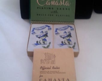 On Sale Vintage Canasta Playing Cards *** Complete Set 2 Decks *** 1950's Collectible Games *** Dog Lovers Collectibles ***