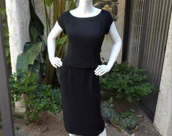Vintage 1960's Black Cocktail Dress - Size 14