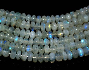 Good Quality !!!~100% Natural White Rainbow Moon Stone Smooth Beads Roundel Shape Size 8mm Approx 13.5''Inch Natural Quality Gemstone.