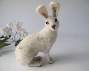 Needle Felt White Rabbit Hare, Soft Sculpture Ornament