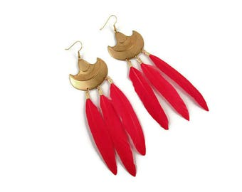 Red Feather and Brass Boho Earrings