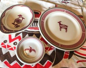 Mimbreño Santa Fe Dining Car dinnerware LOT of 3 original