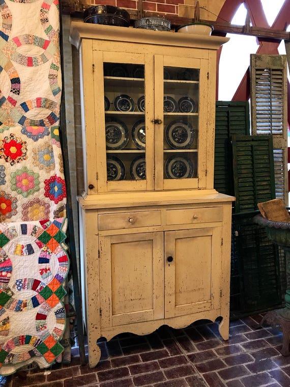Walnut Stepback Cupboard Original Paint Creamy White - Farmhouse Decor - Civil War era 1860s
