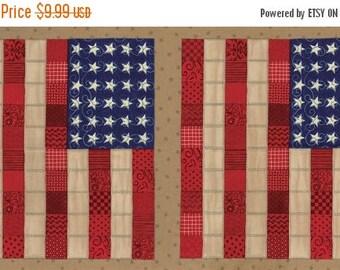 12% off thru July SEW AMERICAN Moda patriotic panel cotton quilt fabric 19780-12-USA flag  on tan Deb Strain